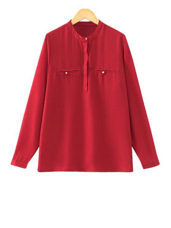 new Stand Neck Solid Color Shirt - RED S