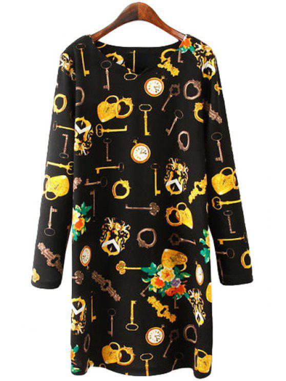 best Key Print Long Sleeve Dress - BLACK L