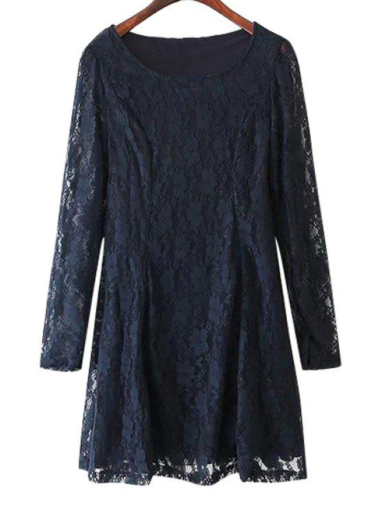 women's Solid Color Long Sleeves Lace Dress - PURPLISH BLUE S