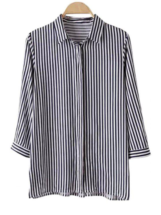 chic Striped 3/4 Sleeve Shirt - BLUE AND WHITE S