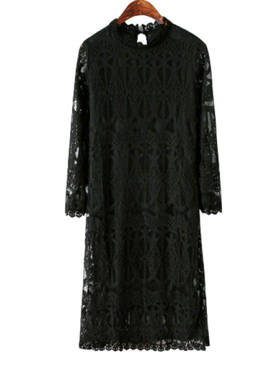 hot Solid Color Stand Collar Lace Dress - BLACK ONE SIZE(FIT SIZE XS TO M)