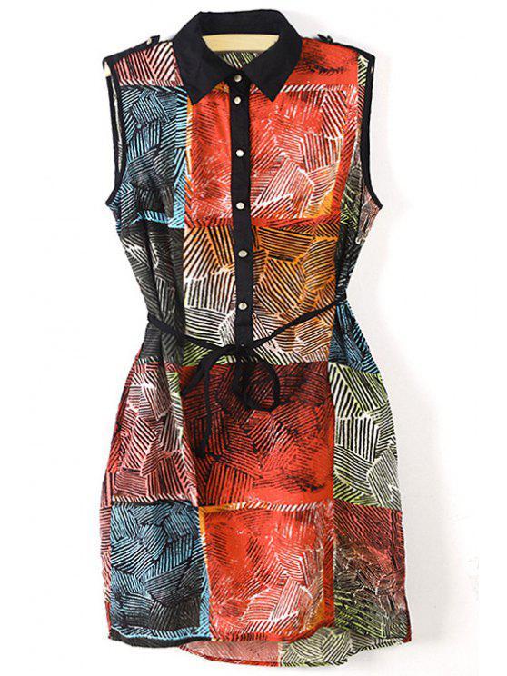 sale Turn-Down Collar Color Block Plaid Dress - COLORMIX S