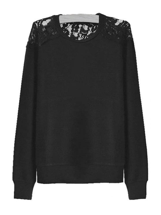 shop Lace Splicing Solid Color Knitwear - BLACK S