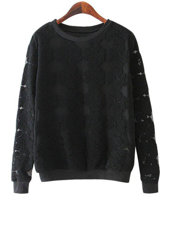 affordable Four-Leaf Clover Pattern Lace Sweatshirt - BLACK M