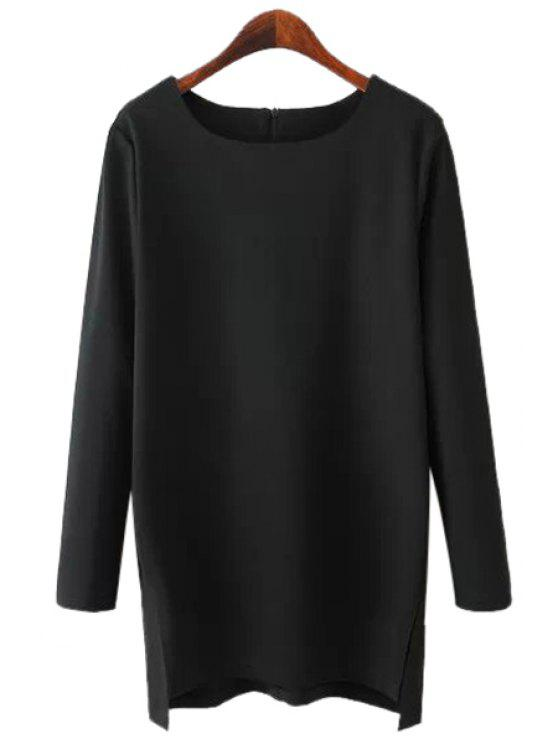 best Solid Color Side Slit Asymmetrical T-Shirt - BLACK M