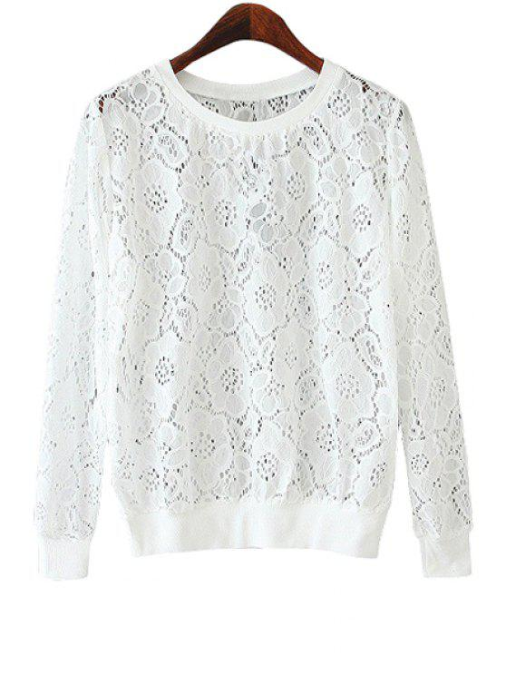 online Rose Pattern Lace Sweatshirt - WHITE M