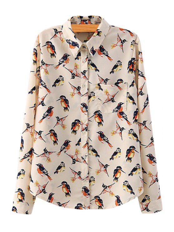 affordable Full Bird Print Long Sleeve Shirt - BEIGE S