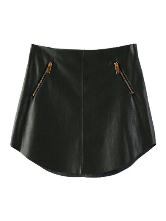 affordable Zipper Embellished Faux Leather Skirt - ARMY GREEN L