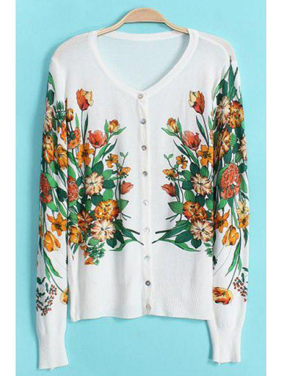 buy Floral Print Long Sleeve Cardigan - WHITE ONE SIZE(FIT SIZE XS TO M)