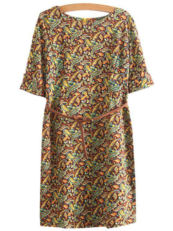 women's Paisley Print Belt Half Sleeve Dress - COLORMIX S