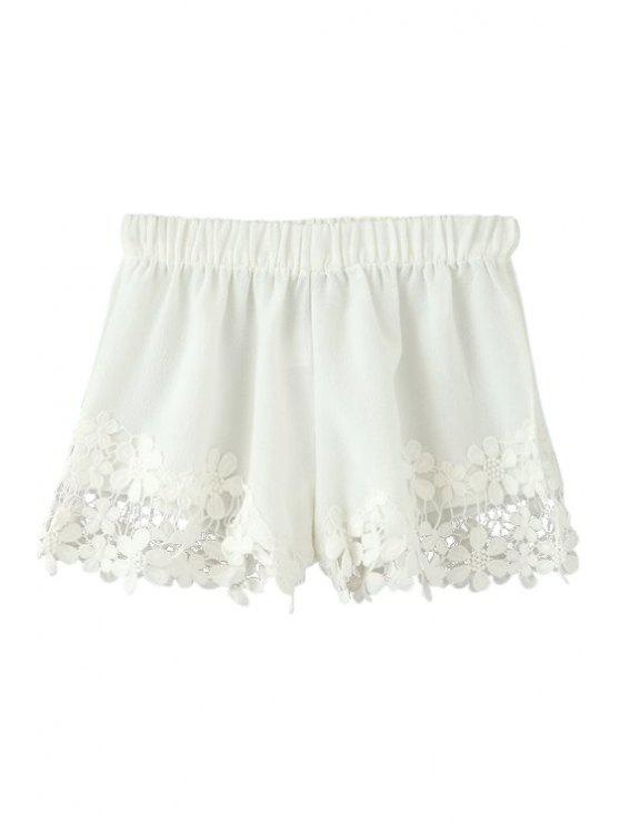 shops Floral Lace Splicing Elastic Waist Shorts - WHITE S