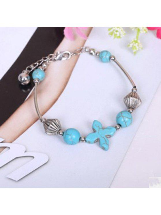 best Chic Cross Kallaite Bracelet - SILVER AND BLUE