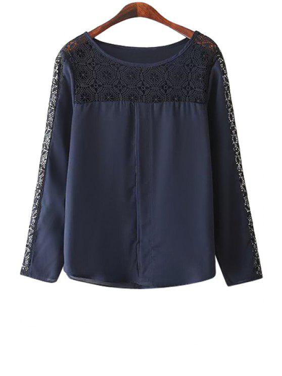 lady Hollow Splicing Long Sleeve Blouse - PURPLISH BLUE S