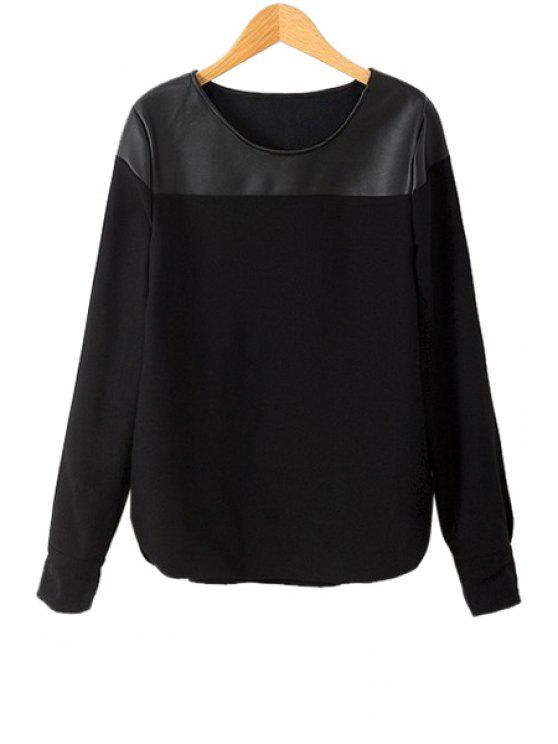 affordable PU Leather Splicing Solid Color T-Shirt - BLACK S