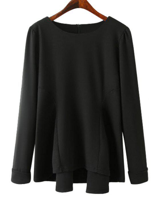 ladies Solid Color Asymmetrical T-Shirt - BLACK M