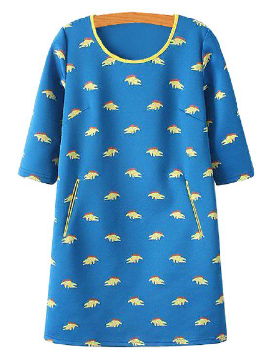 outfits Crocodile Print Half Sleeve Dress - BLUE S