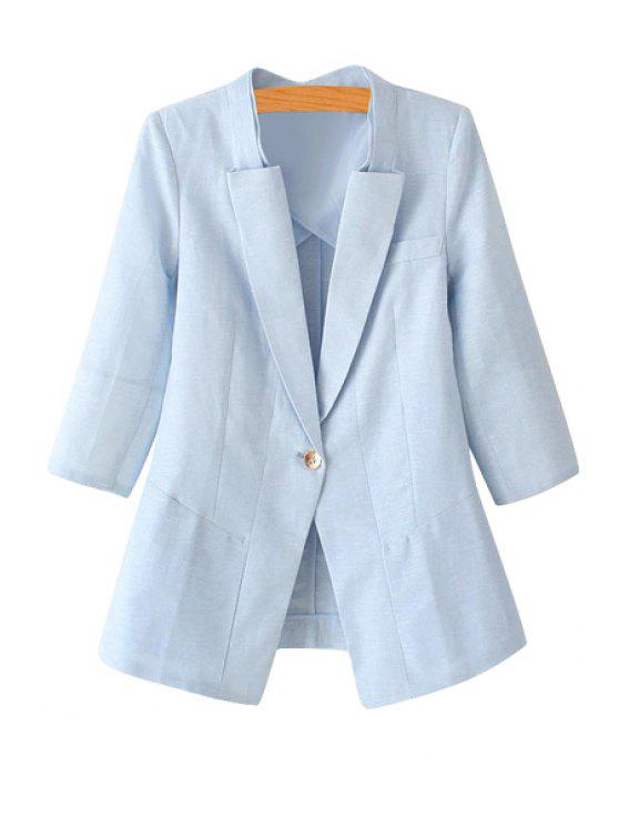shops Solid Color One Button Long Sleeve Blazer - AZURE S