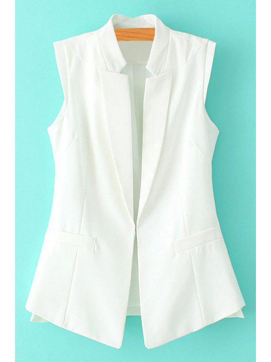 latest Solid Color Side Slit Sleeveless Waistcoat - WHITE S