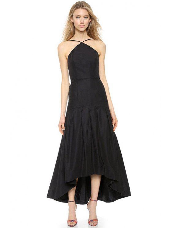 trendy Black Backless Spaghetti Straps Dress - BLACK M