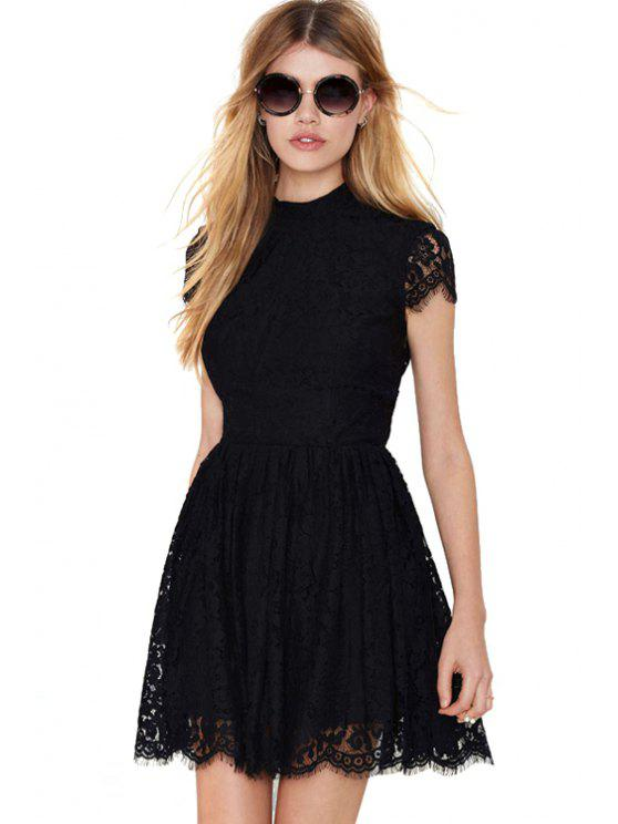 womens Solid Color Backless Lace Dress - BLACK XS