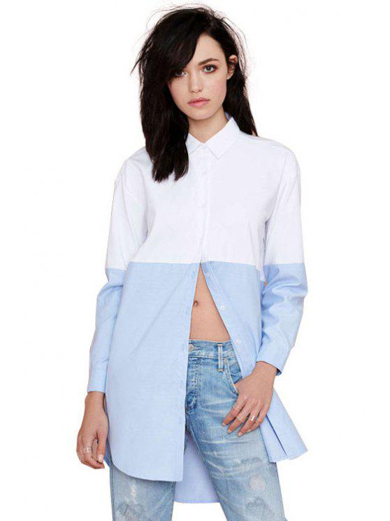 unique Long Sleeves Color Block Shirt - BLUE AND WHITE S