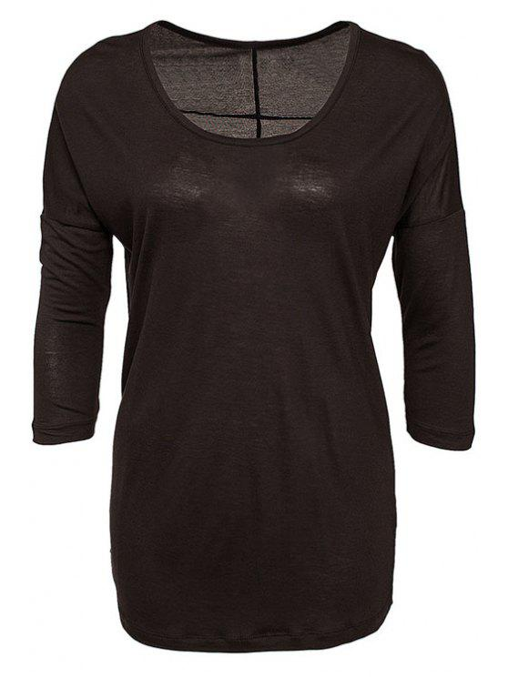 hot Solid Color 3/4 Sleeve T-Shirt - BLACK S