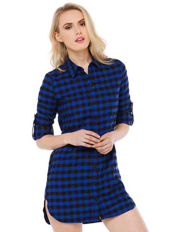 trendy Blue Checked Long Sleeve Dress - CHECKED S
