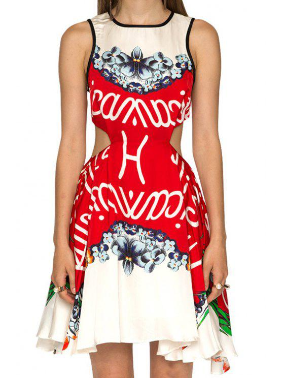 women Letter and Floral Print Openwork Dress - RED XS