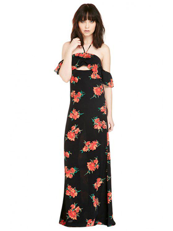 new Floral Print Openwork Slit Dress - BLACK XS