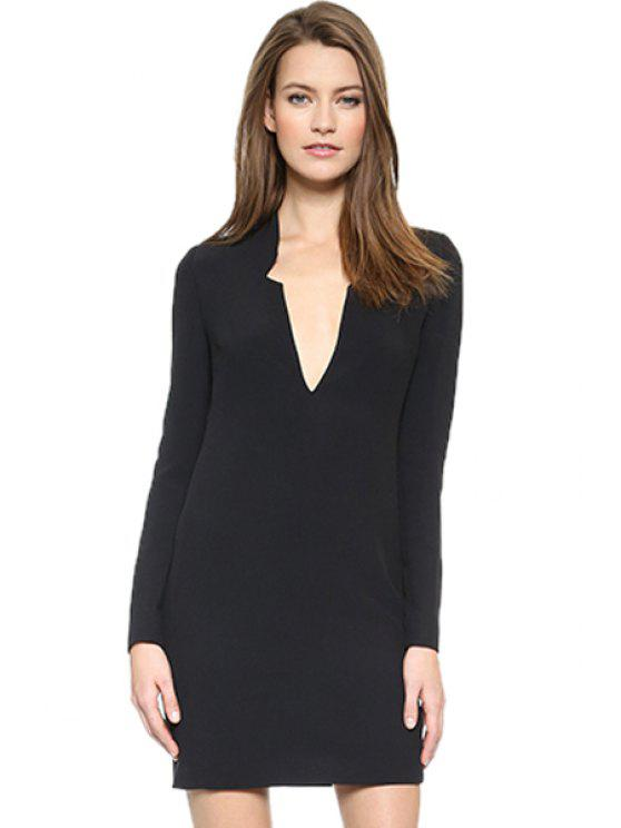 lady Plunging Neck Black Dress - BLACK S