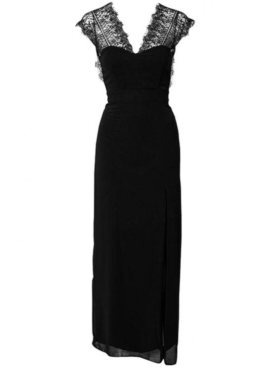 outfit Lace Splicing Short Sleeve Maxi Dress - BLACK S