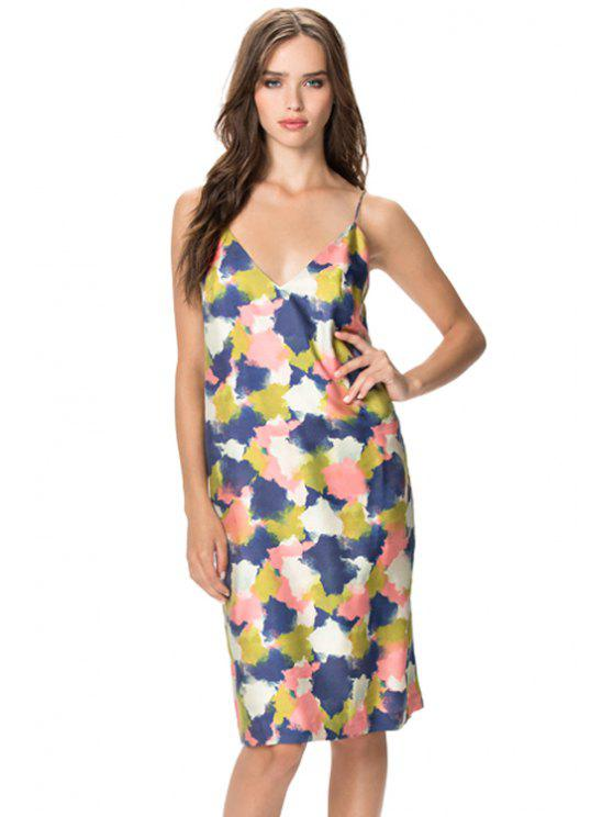 buy Abstract Print Backless Dress - COLORMIX XS
