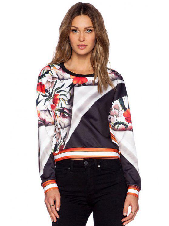 new Floral Print Color Block Sweatshirt - COLORMIX L