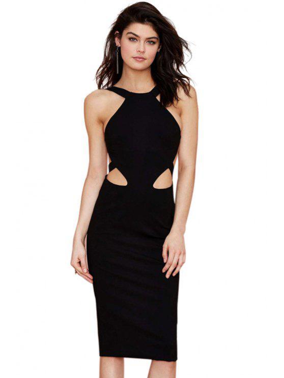 affordable Solid Color Backless Slit Sleeveless Dress - BLACK XS