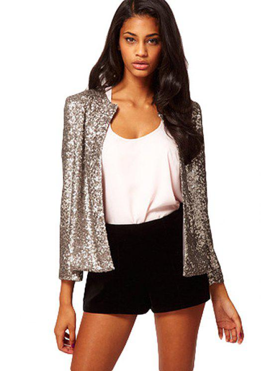 hot Sequins Solid Color Long Sleeve Coat - SILVER M