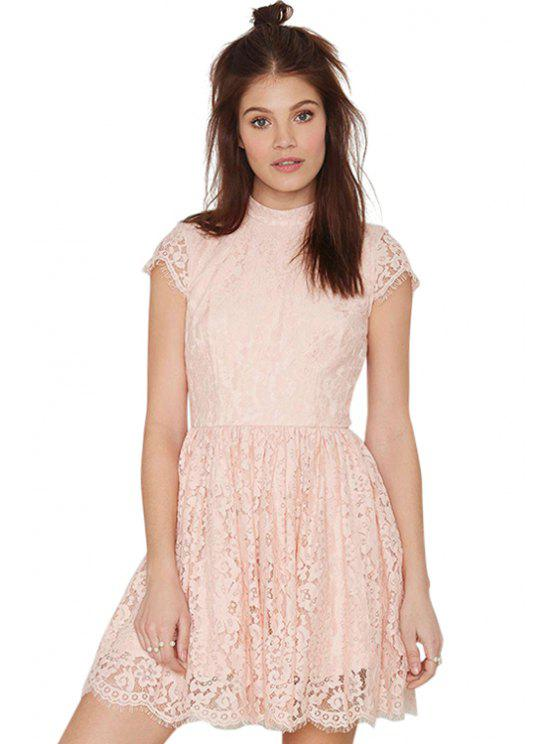 affordable Pink Short Sleeve Lace Dress - PINK S