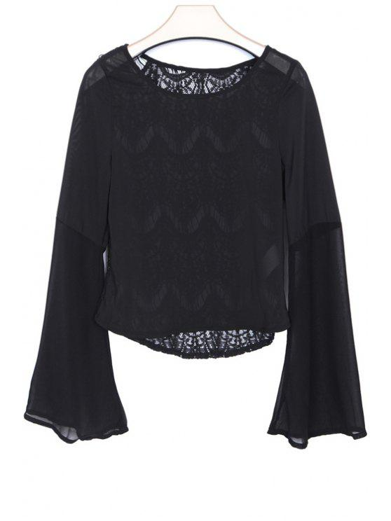 trendy Solid Color Lace Chiffon Splicing T-Shirt - BLACK XS