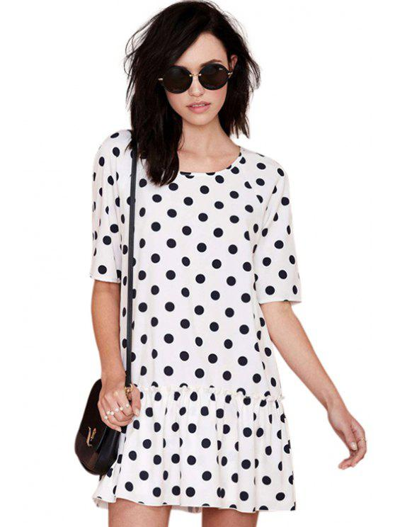 women Polka Dot Print Half Sleeve Dress - WHITE AND BLACK S