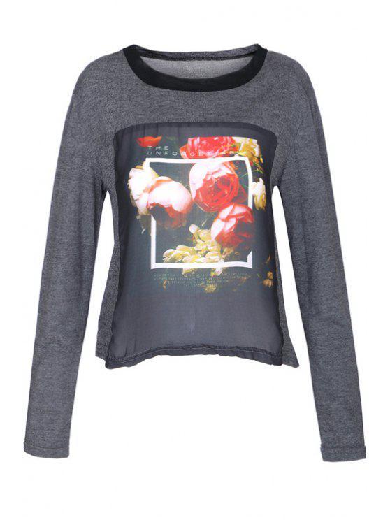 affordable Floral Print Chiffon Splicing T-Shirt - BLACK AND GREY XS