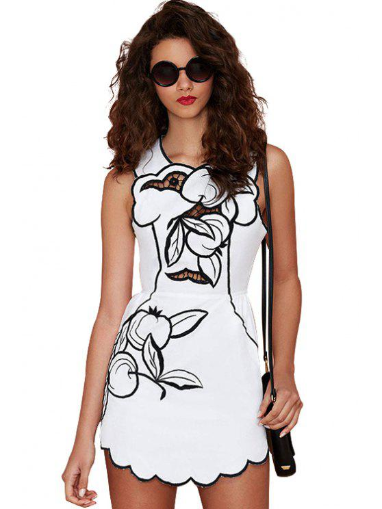 shops Print Hollow Sleeveless Dress - WHITE S