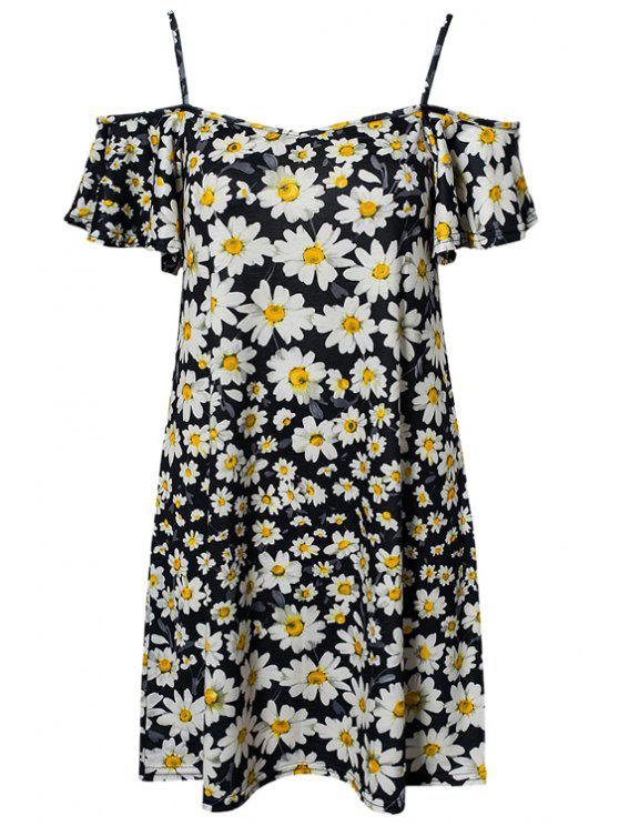outfits Full Floral Spaghetti Straps Dress - BLACK S