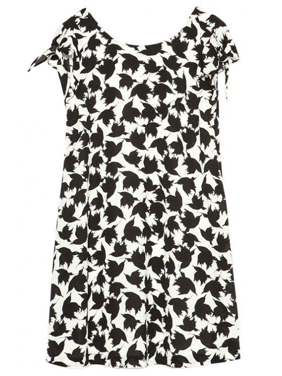lady Full Birds Print Dress - WHITE AND BLACK S