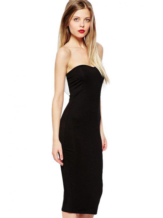 lady Strapless Back Bowknot Dress - BLACK XS