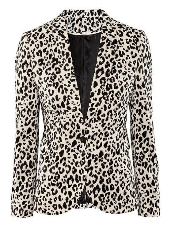 affordable Lapel Leopard Pattern Blazer - LEOPARD XS