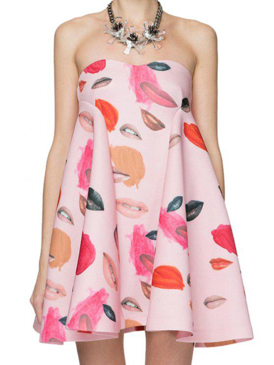 unique Full Lip Print Strapless Dress - PINK L