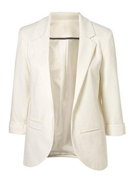 2018 Lapel Solid Color 3 4 Sleeve Blazer In White L Zaful