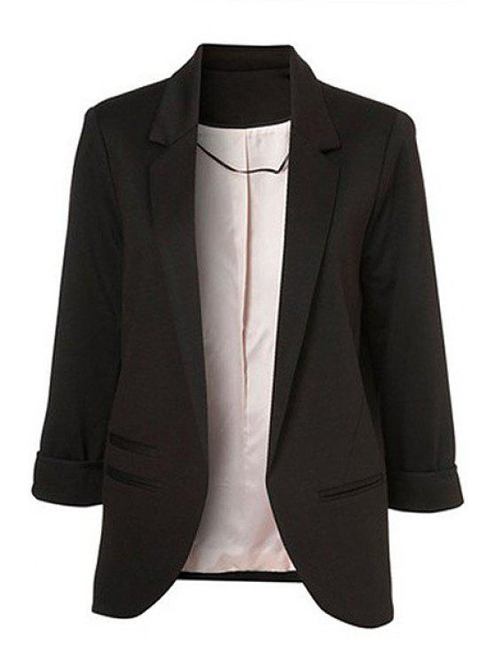 outfits Lapel Solid Color 3/4 Sleeve Blazer - BLACK XS