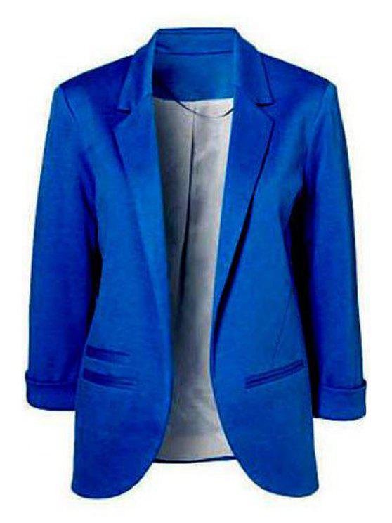 unique Lapel Solid Color 3/4 Sleeve Blazer - BLUE M