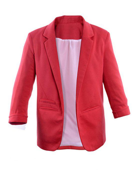 new Lapel Solid Color 3/4 Sleeve Blazer - PEACH RED S