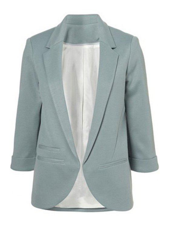 best Lapel Solid Color 3/4 Sleeve Blazer - LIGHT BLUE 2XL